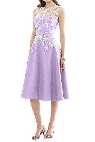 JAEDEN la de de Fiesta Vestido Rodilla Honor Line satén A Vestido de Noche Vestido la Dama de hasta Mujer Lavanda Largo rqzrxUS