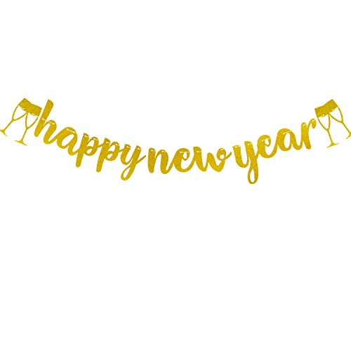 2019 Happy New Year Banner Gold Glitter New Years Eve Streamer Garland Party Favors Supplies Decorations