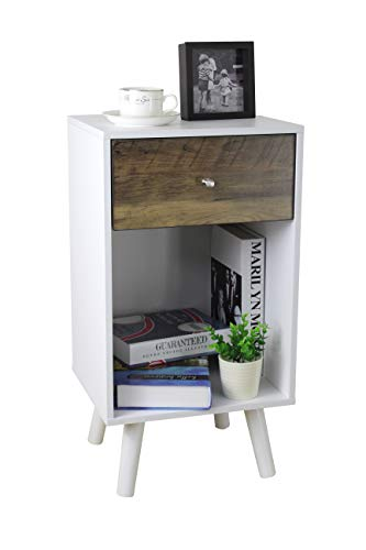 (Aojezor Modern Light Nightstand/Home Decor Dresser/Tall Side End Table/Accent Bedside Lamps Table/Narrow Telephone Stand/Small Floor Cabinet Toy Storage Chest,White/Black/Retro)