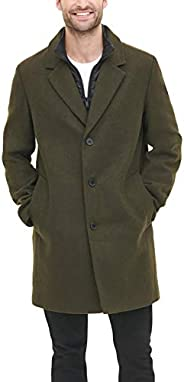 DKNY mens Wool Blend Coat With Removable Quilted Bib Wool Blend Coat