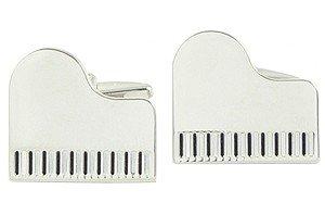 Music Grand Piano Cuff Link - Silver