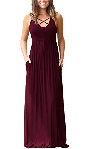 EZBELLE Women's Sleeveless Racerback Maxi Dresses with Pockets Plain Loose HighWaisted Long Dresses Burgundy Large
