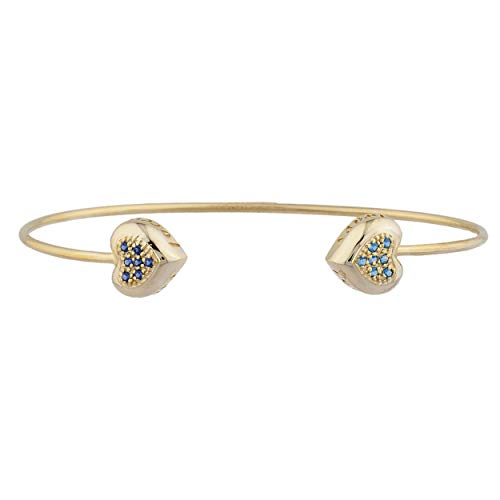 (Created Blue Sapphire & Simulated Blue Topaz Heart Always & Forever Engraved Bangle Bracelet 14Kt Yellow Gold Rose Gold Silver)