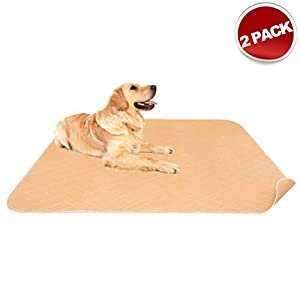 Mihachi 2 Pack Washable Pee Pads for Dogs – 41″x 36″ with Anti-Slip Backing, Reusable Puppy Training Pee Pads, Waterproof Bed Mat