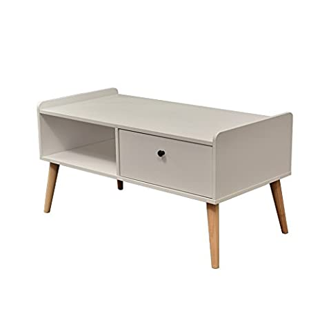 NATURALFOREST Wooden Tea Table With Storage, Espresso Coffee Table Centerpiece (white)