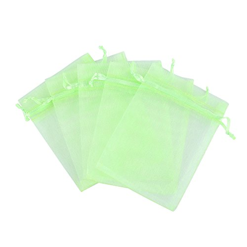 Anleolife 50pcs Wedding Favor Bags Organza Bridal Favor Card Candy Jewelry Organizer Bags Organza Pouch Drawable Gift Bags Party Favors Bags 11x9cm/4.5*3.5'' (green)