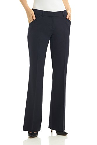 Tropical Wool Suits - Rekucci Women's Slant Pocket Flare Leg Dress Pant (12,Navy)