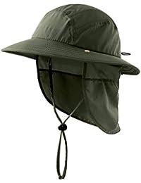 Home Prefer UPF 50+ Boys Sun Hat with Neck Flap Summer Beach Hat Kids Safari Hat (Army Green)