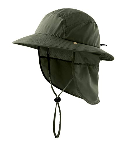 Home Prefer UPF 50+ Boys Sun Hat with Neck Flap Summer Beach Hat Kids Safari Hat (Army Green)