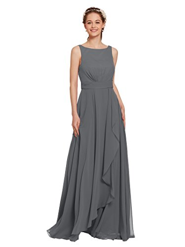Chiffon Vintage Evening Gown - AWEI Long Bridesmaid Dresses Chiffon Prom Dresses 2018 Formal Gown Womens Evening Dresses, Steel Gray, US12