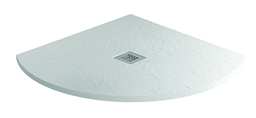 MX Group X2F Quadrant Mineral Collection Slate Effect Shower Tray, Ice White, 800 x 800 (Quadrant Shower Trays)
