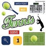 (Scrapbook Customs - Sports Pride Collection - Doo Dads - Self Adhesive Metal Badges - Tennis)