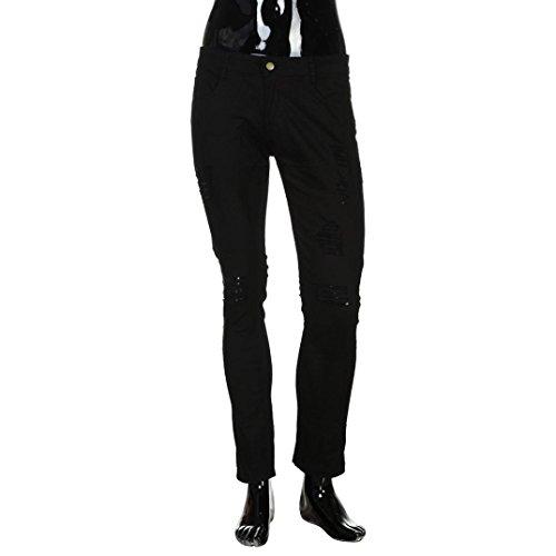 Casual Talla Derecho Ajustado Súper Con Pantalones rotos Tramo hombre lápiz agujeros Pantalones Mezclilla LMMVP Destruido delgado extra Negro Vendimia grabado Biker Jeans de PvHnxFO