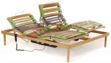 Somier de cama de matrimonio de madera de haya, regulable en ...