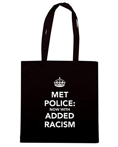 Borsa Shopper Nera TKC0583 KEEP CALM AND MET POLICE NOW WITH ADDED RACISM