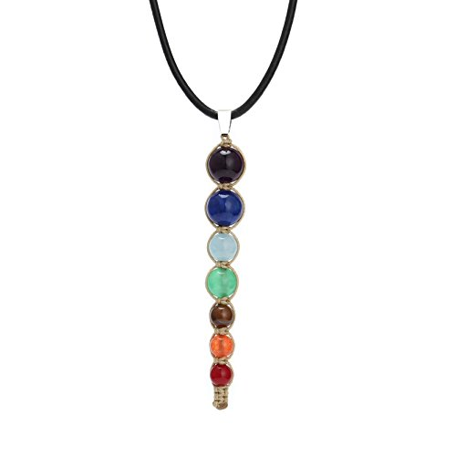 Aobei 7 Chakra Synthetic Stone Pendant Necklace Reiki Healing Jewelry on Genuine Leather Cord for Women 18'' (Stone Cord)