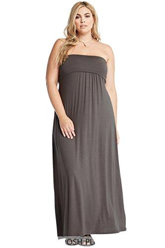 Poshsquare Women's Tube Foldover Comfy Stretch Soft Strapless Maxi Plus Dress USA Charcoal 3X