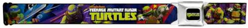 Buckle-Down Seatbelt Belt - TMNT New Series Logo2/Group Action Pose Multi Color - 1.5