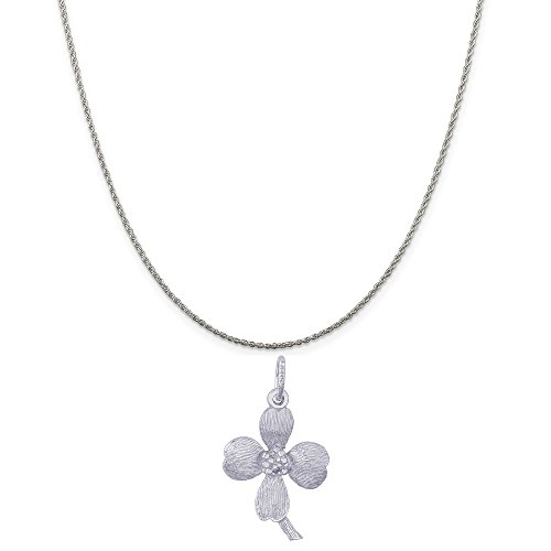 Rembrandt Charms Sterling Silver Dogwood Flower Blossom Charm on a Rope Chain Necklace, ()