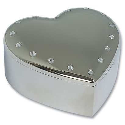 Engraved Silver Plated Heart Jewellery Trinket Box With Crystals by REGENT gifts - Regent Gift