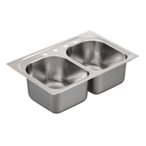 Moen G182574 1800 Series 18 Gauge Double Bowl Drop In Sink, Stainless Steel by Moen by Moen