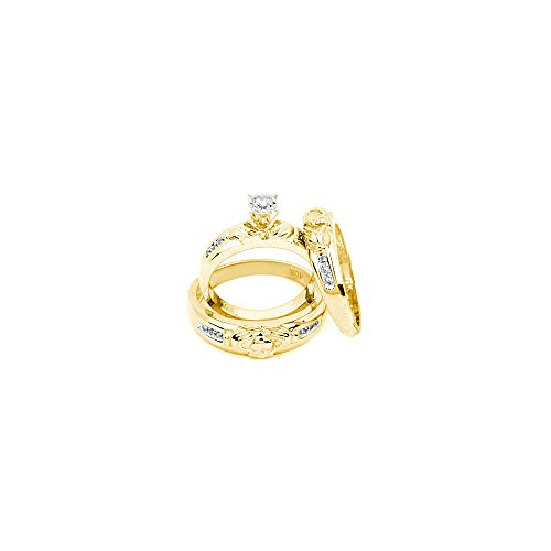 10k Yellow Gold Diamond Matching Claddagh Mens Womens His & Hers Trio Wedding Ring Set 1/8 Cttw (I2-I3 clarity; J-K color)