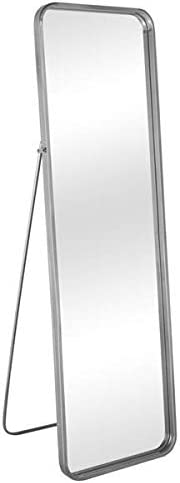 Bedroom Furniture Artisasset 64.5 Inch Tall Silver Gray Rounded Frame With Floor Stand Wrought Iron Full-Length Mirror