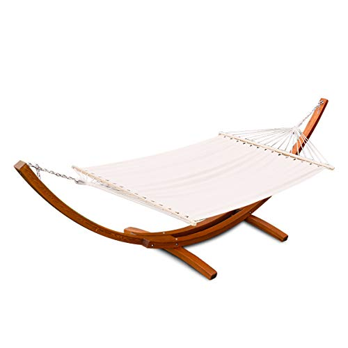 Giantex 12Ft Hammock Stand Chair with Cozy Cotton Fabric, Wood Rope Swing Hammock for Backyard Decor Bed Yard Patio Lawn Garden Furniture