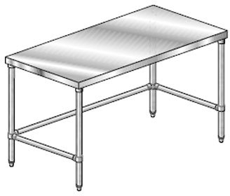 Tubing Gauge Aluminum 14 (Aero Premium Galvanized Leg and Crossbracing Work Table - 14 Gauge, 24 inch Wide - 1 each.)