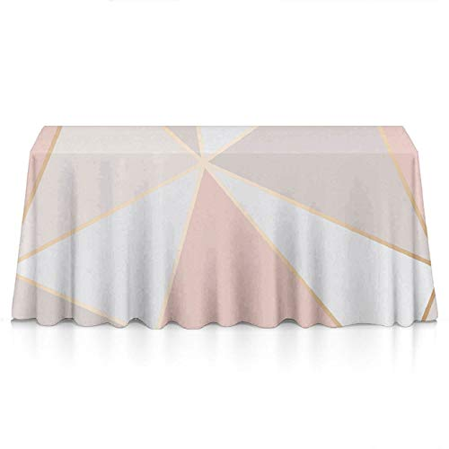 GLORY ART Waterproof Tablecloth,Rose Gold Geometric Mirror,Large Dust-Proof Vinyl Table Cloth Cover, Great for Dinner,Wedding,Patio,Parties,Holiday Dinner,Buffet Table& More(60