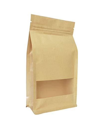 Couga Mall 50 PCS Universal Kraft Paper Packing Bag, Zip Lock Stand Up Storage Pouch Package Bag With Clear Window for Storing Snacks, Beans, Seeds and Tea Leaves(6.3
