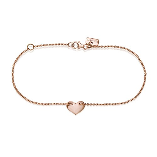 SEVEN50 Made in Italy Heart Shape Charm Bracelet Yellow Gold Extremely Durable 9k Rose Gold Real Classic Gift - Heart Bracelet 9k