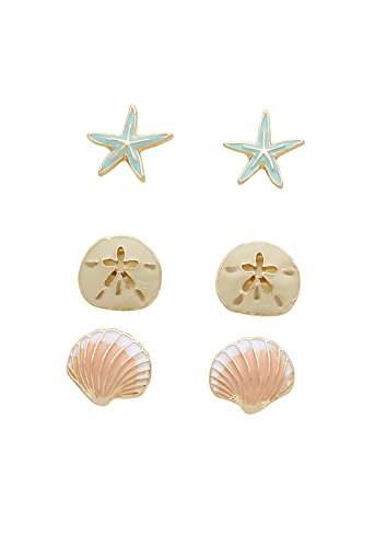 Rosemarie Collections Women's Beach Stud Earrings Set of 3 Starfish Sand Dollar Shell (Enamel Colors)