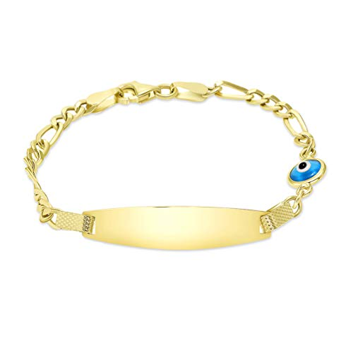 14k Yellow Gold Blue Evil Eye Engravable ID Figaro Link Bracelet, 6