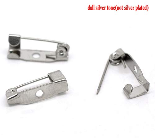 (PEPPERLONELY 200pc Silver Tone Alloy Pin Brooches Back Bar with One Hole Findings 16x4mm (5/8