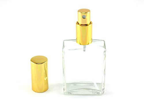 avel Size 2 OZ Perfume Fragrance Bottle TSA Approved Pump Atomizer Spray Perfect for Purse and Traveling - Glass with Gold Accents ()