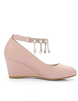 ZQ Zapatos de mujer-Tac¨®n Cu?a-Cu?as / Tacones / Punta Abierta-Sandalias / Tacones-Exterior / Vestido / Casual-Semicuero-Rosa / Morado / , pink-us10.5 / eu42 / uk8.5 / cn43 , pink-us10.5 / eu42 / uk8