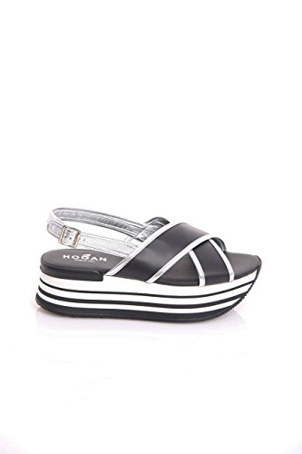 Hogan H294 Sandal Black and Silver in Leather, Womens, Size: 38,5.