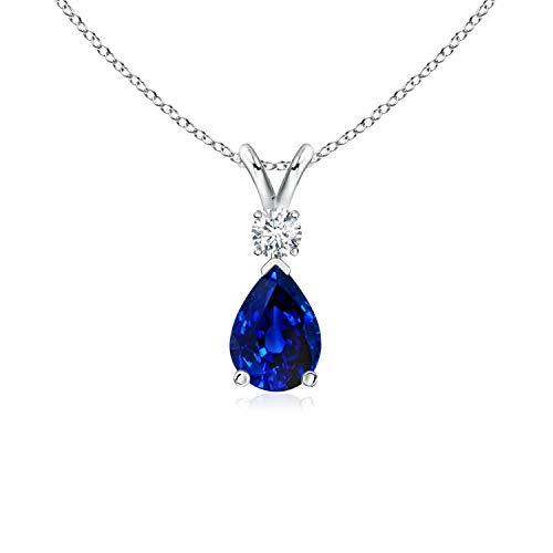(Blue Sapphire Teardrop Pendant with Diamond in 14K White Gold (7x5mm Blue Sapphire) )