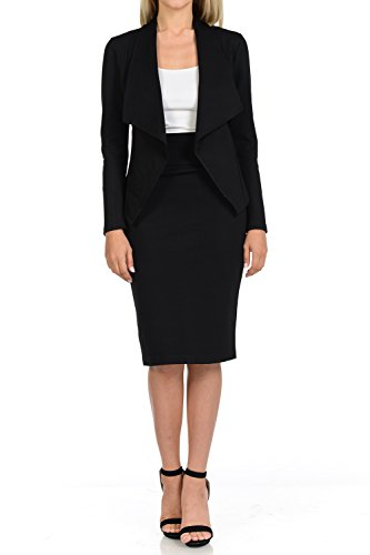 Black Jacket Skirt Suit (Sweethabit Womens Two Piece Wear To Work Solid Blazer and Pencil Silhouette Skirt Set)