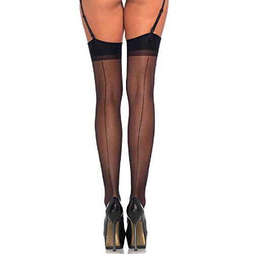 Leg Avenue Women's Plus Size Sheer Stockings with Back Seam, Black