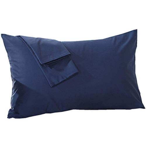 Navy Zippered - YAROO Zippered Pillow Cases, Queen Pillowcase,100% Cotton,Solid,Navy Blue (2-Pack)