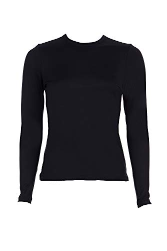 - A'NUE LIGNE A'nue Miami Women's Perfect Crew, Long Sleeve Basic Crew Neck Shirt, Medium, Black