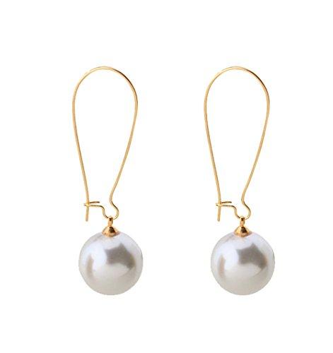 Rakumi Sterling Silver Round 12mm White Seashell Pearl Dangle Earrings