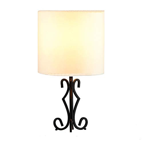 Popilion Elegant Black Metal Base Table Lamp,Retro Small Lamp with White TC Fabric Lampshade for Bedroom Living Room Study Room