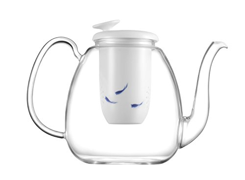 ZENS High Borosilicate Glass Teapot 49oz/1.4L Large Enough Serving 4 to 6 Cups, with Blue and White Porcelain Hand-painted Fish Pattern Infuse & Pure White Porcelain Lotus Leaf Lid for Flower (Hand Painted Flower Pot)