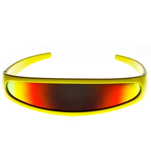 Futuristic Narrow Cyclops Color Mirrored Lens Visor Sunglasses (Yellow Fire) -