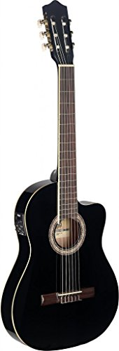 Stagg C546TCE BK Cutaway Acoustic-Electric Classical Guitar - Black (Best Electro Classical Guitar)