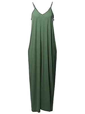 Women's Casual Premium Adjustable Strap Side Pockets Loose Long Maxi Dress