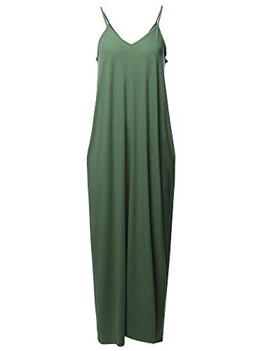 Womens Casual Premium Adjustable Strap Side Pockets Loose Long Maxi Dress